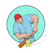 Baseball Player Hitting A Homerun Drawing Poster