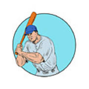 Baseball Player Holding Bat Drawing Poster