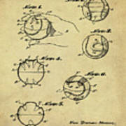Baseball Training Device Patent 1961 Sepia Poster