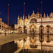 Basilica San Marco Reflections At Night - Venice, Italy Poster