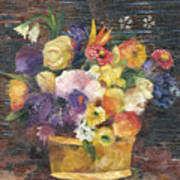 Basket with Flowers Poster