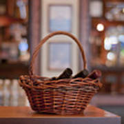 Basket With Wine Bottles Poster