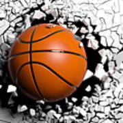 Basketball Ball Breaking Forcibly Through A White Wall. 3d Illustration. Poster