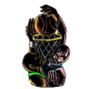 Basketball Player Dunking Blocking Ball Tattoo Poster