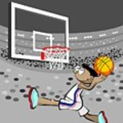Basketball Player Jumping And Flying To Shoot The Ball In The Hoop Poster