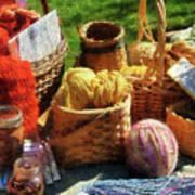 Baskets Of Yarn At Flea Market Poster