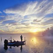 Bass Fisherman At Dawn, Oregon Cascades Poster