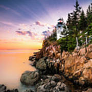 Bass Harbor Lighthouse Sunset Poster