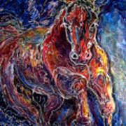 Batik Equine Abstract  Powerful By M Baldwin Poster