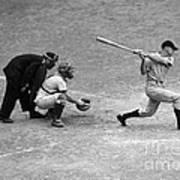Batter Swings Strike At Home Plate Poster