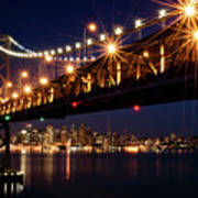Bay Bridge In Front Of San Francisco Skyline Poster by Blue Hour Photography
