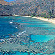 Beach And Haunama Bay, Oahu, Hawaii Poster