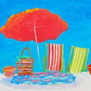 Beach Art - The Red Umbrella Poster