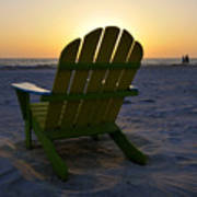 Beach Chair Sunset Poster
