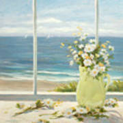 Beach Daisies In Yellow Vase Poster
