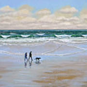 Beach Dog Walk Poster by Frank Wilson