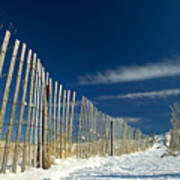 Beach Fence And Snow Poster
