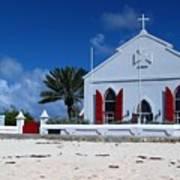 Beach Grand Turk Church Poster