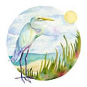 Beach Heron Poster