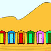 Beach Huts And Sand Poster