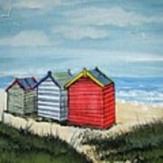 Beach Huts On The Sand Poster