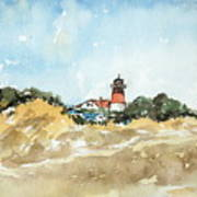Beach Light House Poster