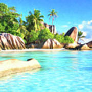 Beach On La Digue Seychelles Poster