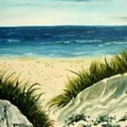 Beach Sand Dunes Acrylic Painting Poster