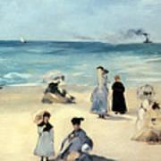 Beach Scene Poster by Edouard Manet