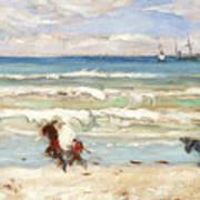 Beach Scene Tangier Poster