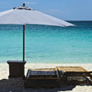 Beach Scene With Lounger And Umbrella Poster