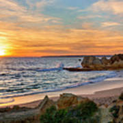 beach sunset Portugal Poster