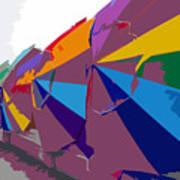 Beach Umbrella Row Poster