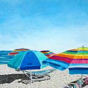 Beach Umbrellas Poster by Glenda Zuckerman
