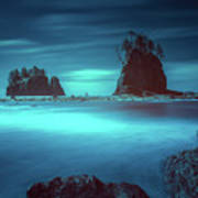 Beach With Sea Stacks In Moody Lighting Poster