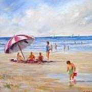 Beach With Umbrella Poster