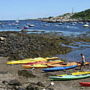 Beached Kayaks At Rockport Harbor Poster