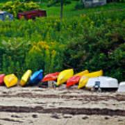Beached Kayaks Poster