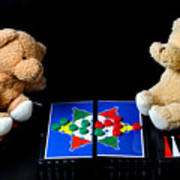 Bears Playing Halma Poster
