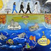 Beatles Song Titles Original Painting Characterization  Poster
