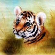 Beautiful Airbrush Painting Of An Adorable Baby Tiger Head Looking Out From A Green Grass Surroundin Poster