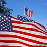 Beautiful American Flags Poster