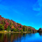 Beautiful Autumn Reflections On Bald Mountain Pond Poster