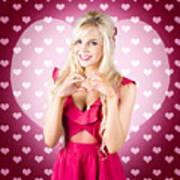 Beautiful Blonde Woman Gesturing Heart Shape Poster