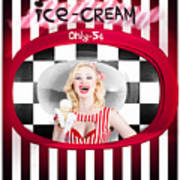 Beautiful Blonde Woman Serving Ice Cream Poster