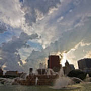 Beautiful Clouds Over Buckingham Fountain Poster