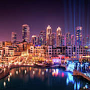 Beautiful Famous Downtown Area In Dubai At Night, Dubai, United Arab Emirates Poster