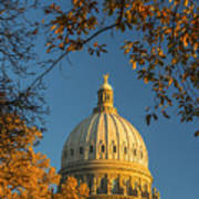 Beautiful Idaho State Capitol In Autumn Morning Poster