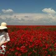 Beautiful Lady And Red Poppies Poster