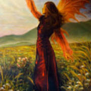 Beautiful Painting Oil On Canvas Of A Fairy Woman In A Historic Dress Standing In Rays Of Sunlight A Poster
